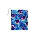 Purple Flowers Drawstring Pouches (XS)  Back