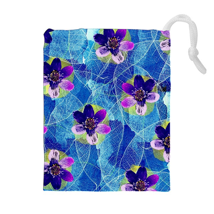 Purple Flowers Drawstring Pouches (Extra Large)