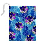 Purple Flowers Drawstring Pouches (Extra Large) Back