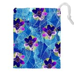 Purple Flowers Drawstring Pouches (XXL) Front
