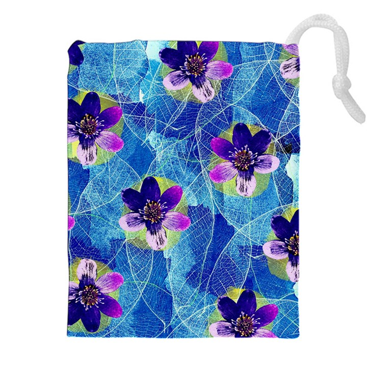 Purple Flowers Drawstring Pouches (XXL)