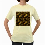 Christmas Background Women s Yellow T-Shirt Front