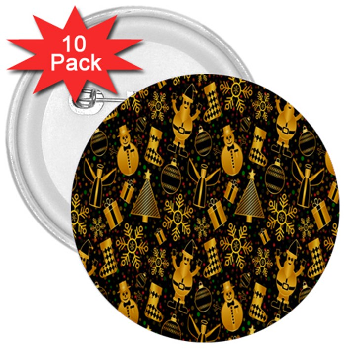 Christmas Background 3  Buttons (10 pack)