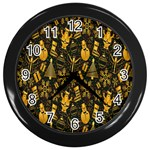 Christmas Background Wall Clocks (Black) Front