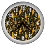 Christmas Background Wall Clocks (Silver)  Front