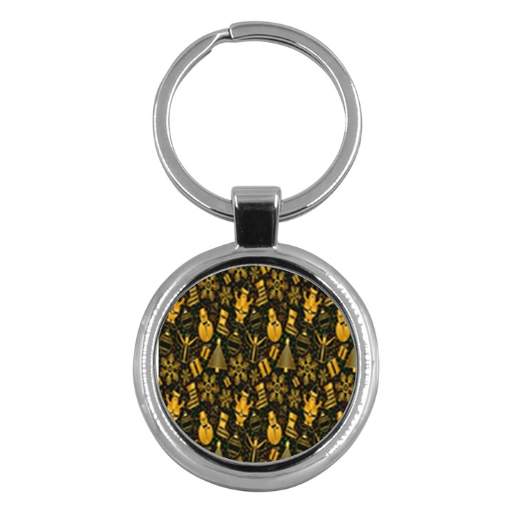 Christmas Background Key Chains (Round)