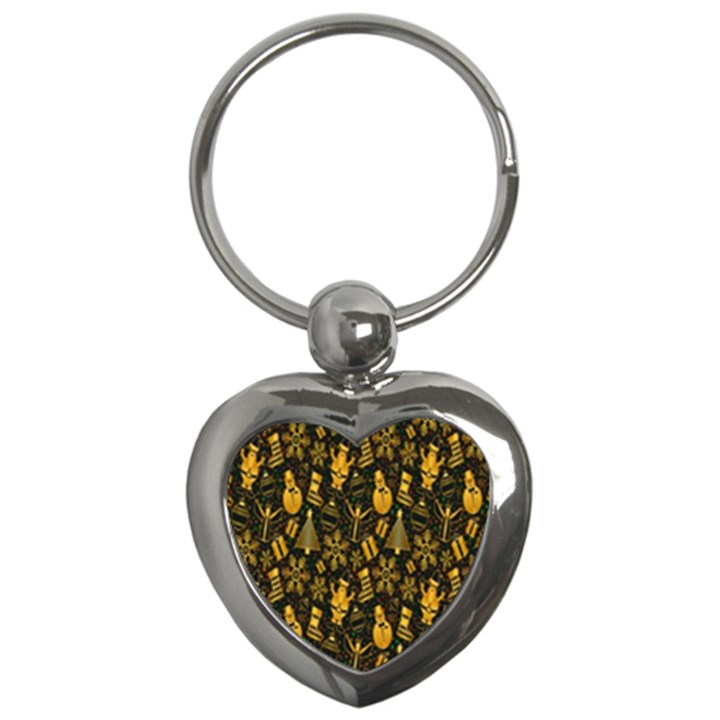 Christmas Background Key Chains (Heart)