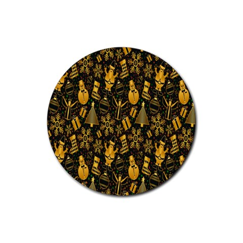Christmas Background Rubber Round Coaster (4 pack)
