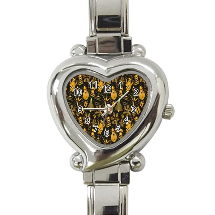 Christmas Background Heart Italian Charm Watch