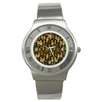 Christmas Background Stainless Steel Watch Front