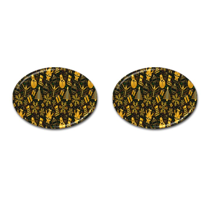 Christmas Background Cufflinks (Oval)