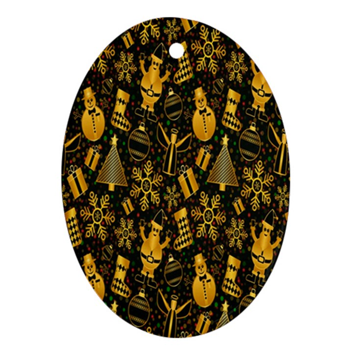 Christmas Background Oval Ornament (Two Sides)