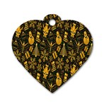 Christmas Background Dog Tag Heart (One Side) Front