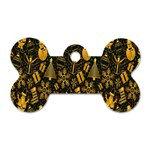Christmas Background Dog Tag Bone (Two Sides) Front