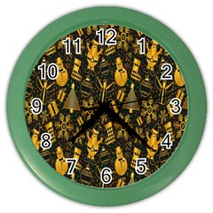 Christmas Background Color Wall Clocks