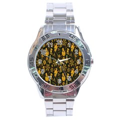 Christmas Background Stainless Steel Analogue Watch