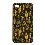 Christmas Background Apple iPhone 4/4s Seamless Case (Black) Front