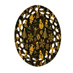 Christmas Background Oval Filigree Ornament (2-Side)  Front