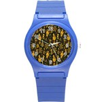 Christmas Background Round Plastic Sport Watch (S) Front