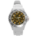 Christmas Background Round Plastic Sport Watch (L) Front