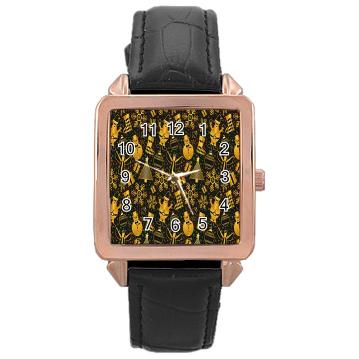Christmas Background Rose Gold Leather Watch