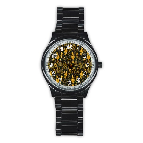 Christmas Background Stainless Steel Round Watch