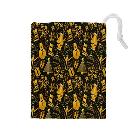 Christmas Background Drawstring Pouches (Large)