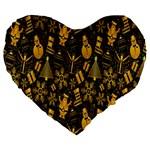 Christmas Background Large 19  Premium Flano Heart Shape Cushions Front