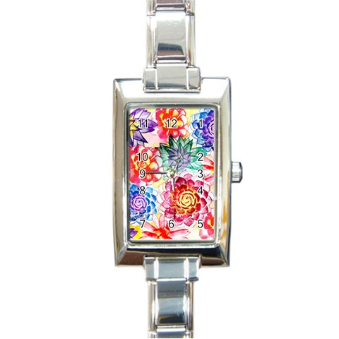 Colorful Succulents Rectangle Italian Charm Watch