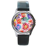 Colorful Succulents Round Metal Watch Front