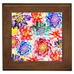 Colorful Succulents Framed Tiles Front