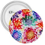 Colorful Succulents 3  Buttons Front