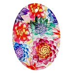 Colorful Succulents Ornament (Oval)  Front