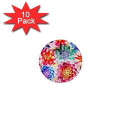 Colorful Succulents 1  Mini Buttons (10 pack)