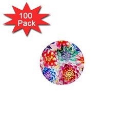 Colorful Succulents 1  Mini Buttons (100 pack)