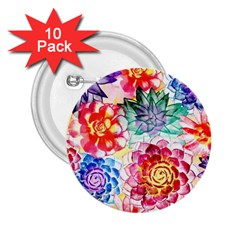 Colorful Succulents 2 25  Buttons (10 Pack)
