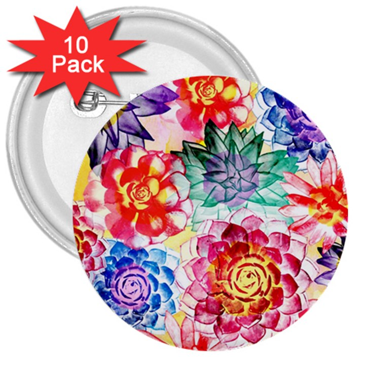 Colorful Succulents 3  Buttons (10 pack)