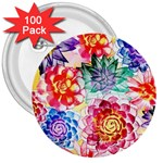 Colorful Succulents 3  Buttons (100 pack)  Front