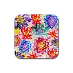 Colorful Succulents Rubber Square Coaster (4 pack)  Front