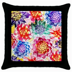 Colorful Succulents Throw Pillow Case (Black)