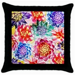 Colorful Succulents Throw Pillow Case (Black) Front
