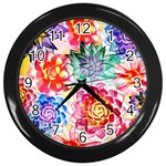 Colorful Succulents Wall Clocks (Black) Front