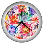 Colorful Succulents Wall Clocks (Silver)  Front