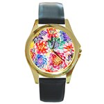 Colorful Succulents Round Gold Metal Watch Front
