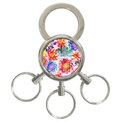 Colorful Succulents 3 Ring Key Chains