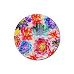 Colorful Succulents Rubber Coaster (Round)  Front