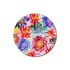 Colorful Succulents Rubber Round Coaster (4 Pack)