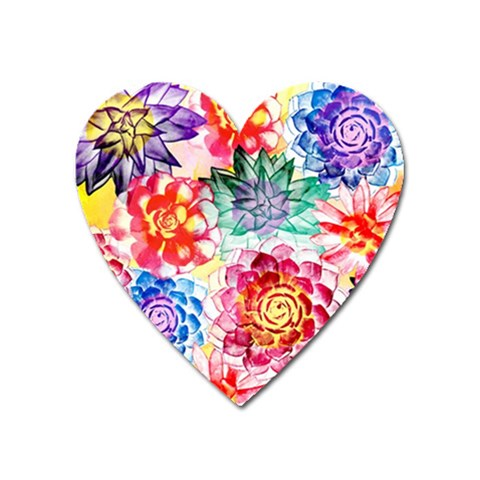 Colorful Succulents Heart Magnet