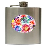 Colorful Succulents Hip Flask (6 oz) Front