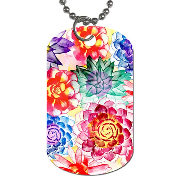 Colorful Succulents Dog Tag (Two Sides)